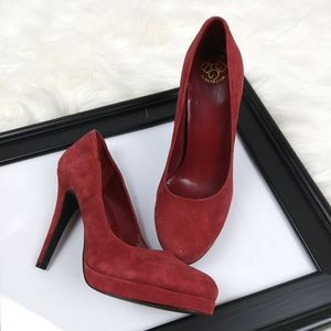 BCBG Generation Red Leather Suede heels shoes